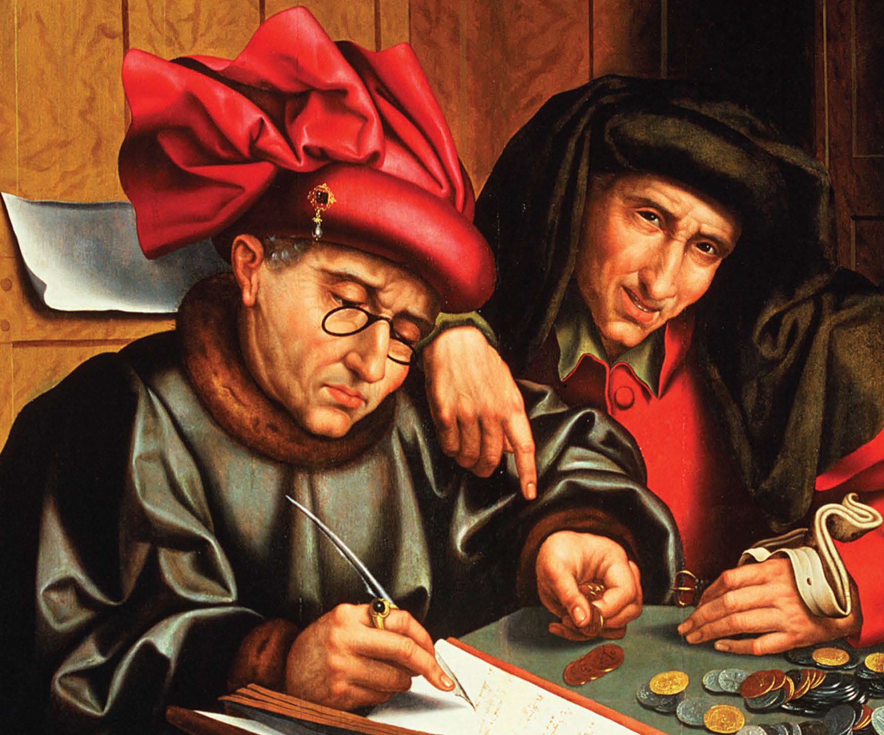 Merchant and scribe in painting show property rights developing first for elites.